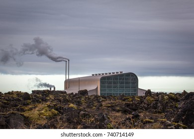 Iceland - October 22, 2017 : Geothermal power plant Reykjanesvirkjun rises up from the lava ground at Reykjanes peninsula in Iceland.