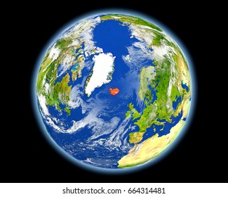 Iceland on planet Earth. 3D illustration with detailed planet surface. Elements of this image furnished by NASA.
