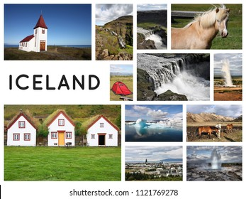 Iceland postcard - travel place landmark photo collage.
