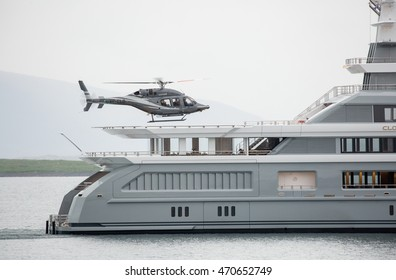 Iceland Reykjavik 10 June 2016, a helicopter is trying to land on the luxurious yacht Cloudbreak
