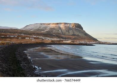 Iceland Reynisfjara Black sand beach winter