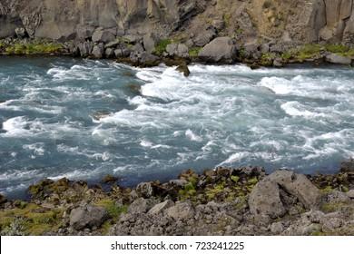 ICELAND - RIVER NEAR GODAFOSS WATERFALL