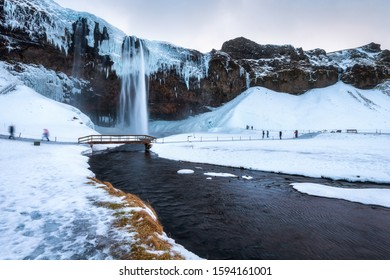 Iceland seljalandsfoss waterfall, winter in Iceland, seljalandsfoss waterfall in winter