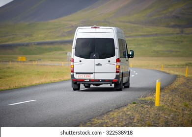 ICELAND - SEP 10: Mercedes Sprinter Van on Sep. 10, 2015 in Iceland. The Sprinter is a vehicle built by Daimler AG of Stuttgart, Germany as a van, chassis cab, minibus, and pickup truck.