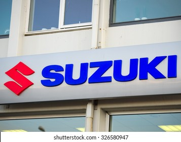 ICELAND - SEP 15: Suzuki dealership logo on Sep. 15, 2015 in Iceland. Suzuki is a Japanese multinational corporation specializing in manufacturing automobiles, four-wheel drive vehicles, motorcycles.
