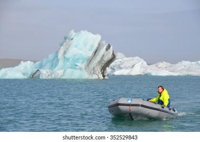 ICELAND - SEPTEMBER 10: Jokulsarlon GLacial Lagoon Boat Tour in Iceland on September 10, 2015. Many people visit the famous glacial lagoon in Iceland every year.