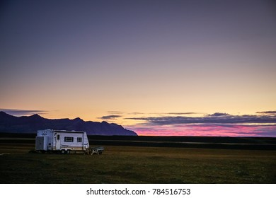 Iceland September 12 2017 a caravan park on the field during sunrise