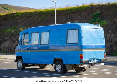 ICELAND - SEPTEMBER 15, 2015: Mercedes Benz L608D Camper van. The Mercedes-Benz T2 was a transporter manufactured by Daimler-Benz. The second generation of the T2 was introduced in 1986.