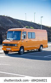 ICELAND - SEPTEMBER 15, 2015: Mercedes Benz Vario 611D Camper van. The Mercedes-Benz T2 was a transporter manufactured by Daimler-Benz. The second generation of the T2 was introduced in 1986.