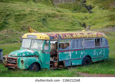 ICELAND - September 22, 2015: Old abandoned bus Volvo in Iceland. Volvo Buses (stylized as VOLVO) is a subsidiary and a business area of the Swedish vehicle maker Volvo.