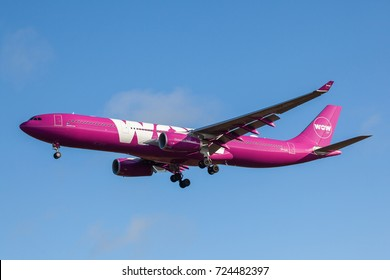 Iceland - September 28, 2017 : Airbus A330-343 from WOW Air approaches KEF Airport in Iceland.