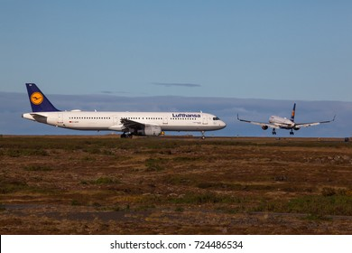 Iceland - September 28, 2017 : Airbus A321-200 from Lufthansa at KEF Airport in Iceland.