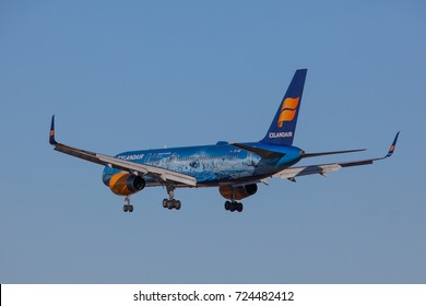 Iceland - September 28, 2017 : Boeing 757-300 Vatnajökull from Icelandair approaches KEF Airport in Iceland.