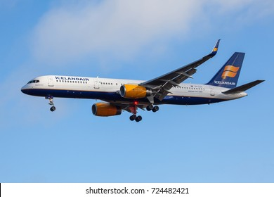 Iceland - September 28, 2017 : Boeing 757-200 from Icelandair approaches KEF Airport in Iceland.