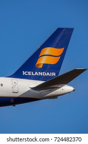Iceland - September 28, 2017 : Icelandair logo on a aircraft tail.