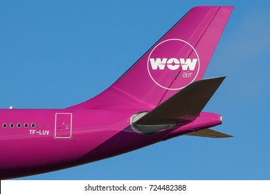 Iceland - September 28, 2017 : WOW Air logo on a aircraft tail.