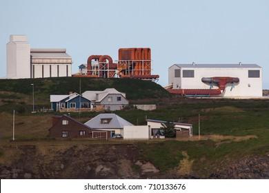 Reykjanesbær, Iceland - September 6, 2017 : United Silicon industrial building.
