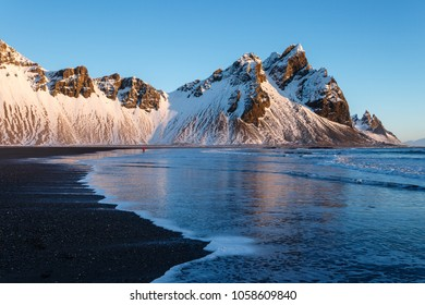 Iceland, Stokkness at sunrise in winter