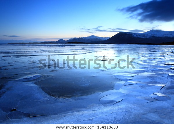 Iceland in twilight over the mountain range nd lakes