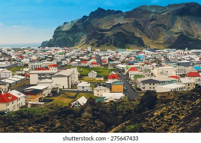 Iceland village city in mountains