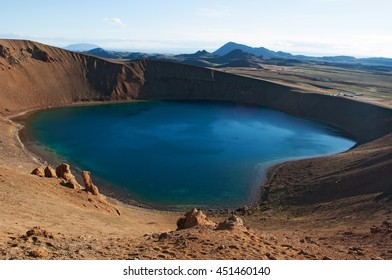 Iceland: Viti crater and lake on August 28, 2012. Viti is an explosion crater formed in 1734 by a massive eruption in the Krafla volcano, its diameter is 300 meters and it has a green lake inside it