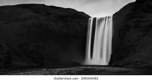 Iceland waterfall black and white