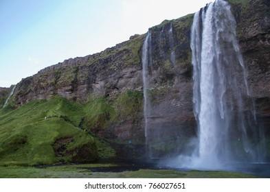 Iceland waterfall Seljalandsfoss summer