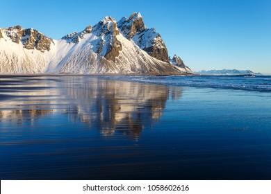 Iceland, Westrahorn Stokkness in winter