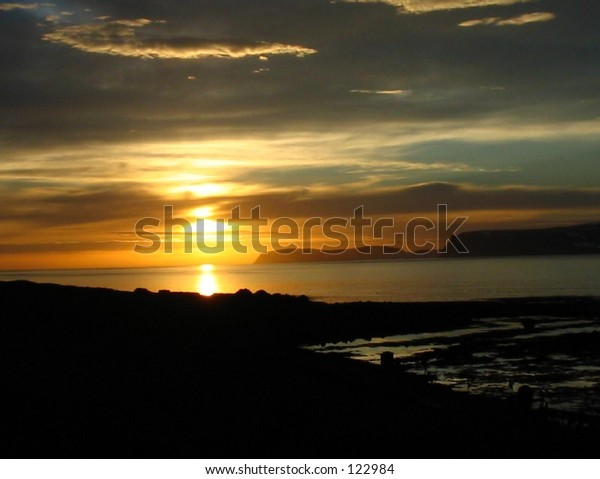 Icelander sunset in mid summernight