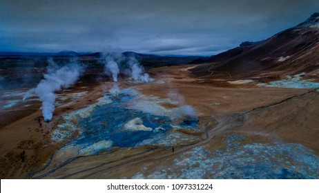 Icelandic aerial photography captured by drone.Beautiful landscape in Hveraronf,  in an area of active volcanism