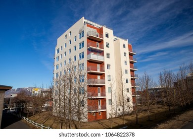 An Icelandic apartment building in the city of Reyjkavik