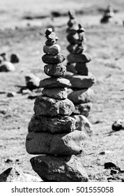 Icelandic Cairns in black and white. Thingvellir National Park, Iceland.