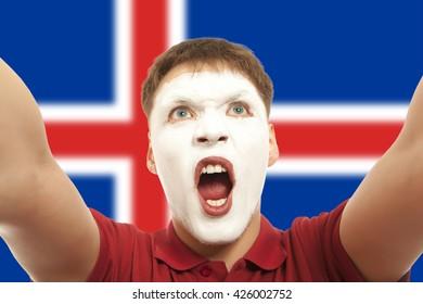 Icelandic fans at the stadium. Football, soccer fan