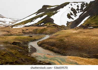 Icelandic geothermal area during winter
