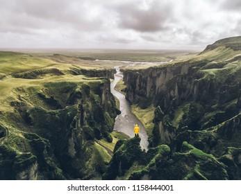 Icelandic green hills and panoramas. Fjadrárgljúfur canyon