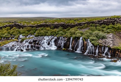 Icelandic Hraunfossar waterfall and its turquoise water