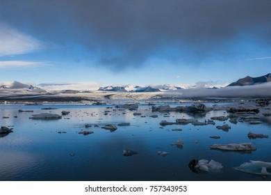 icelandic ice lagoon of jokulsarlon in the morning in summer