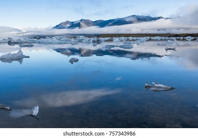 icelandic ice lagoon of jokulsarlon in the morning in summer