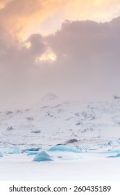 Icelandic icefield at the end of the day