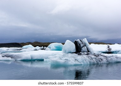 Icelandic landscape with ice in the lagoon