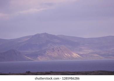 Icelandic mountain and lake landscape