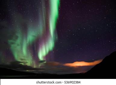 Icelandic norhtern lights in autumn time