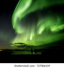 Icelandic northern lights in autumn time