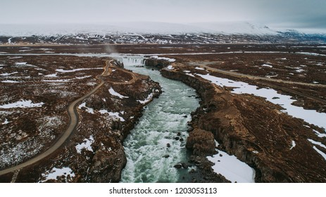 Icelandic panoramas, aerial view on the godafoss waterfall