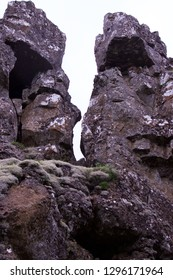 Icelandic rock formation in Thingvellir national park