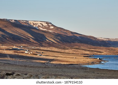 Icelandic scenery near Akranes, mountains, fields, farmland by the shore