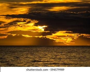 Icelandic sea during sunset