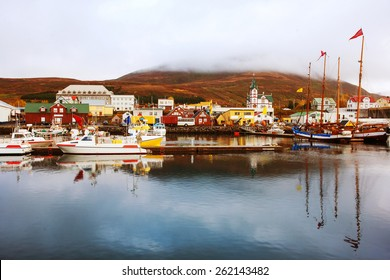 Icelandic Seaport in Husavik, Iceland.