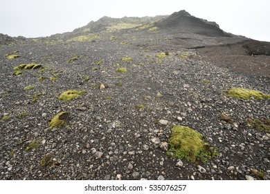 Icelandic volcano landscape, gravel terrain, mountains. Iceland.