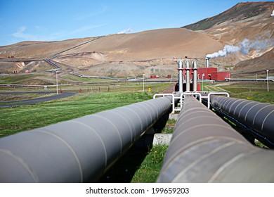 Iceland's geothermal power plant station in the Krafla volcanic region